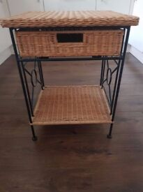 Very Solid Metal & Wicker Side Table