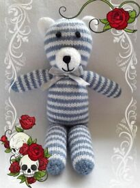 Brand new hand made knitted teddy. denim look