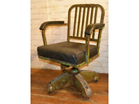 Industrial swivel office chair leather metal desk vintage retro antique machinist factory seating, used for sale  Soham, Cambridgeshire