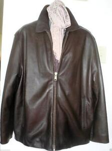 NEW $1200 Mens Andrew Marc Leather Jacket Coat 44 46 LARGE Reg Beautiful Cowhide Leather BROWN Blazer ZIP NEW!
