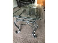 Coffee table chrome and glass
