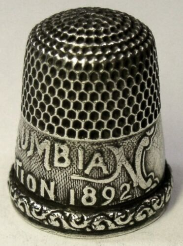 Antique Simons Bros. 1893 Columbian Exposition Sterling Silver Thimble  Dtd 1892