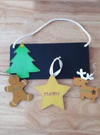 Personalised Christmas decorations.