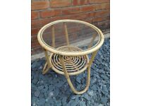 Living Room Modern Beige Bamboo Glass Top Round Coffee Table