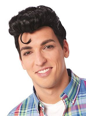1950S 50'S ADULT MENS DOO WOP GREASER GREASE MALE COSTUME WIG BLACK - 1950s Male Costume