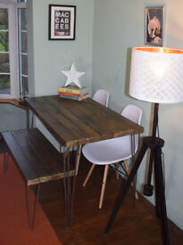 Industrial Kitchen Table Bench and x 2 chairs Mid Century Style hairpin