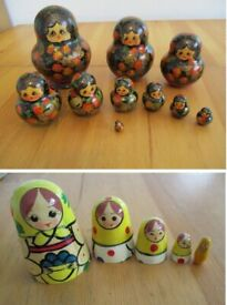 2 x Russian Matryoshka Wooden Nesting Dolls - See Description & Pics - Price is For BOTH