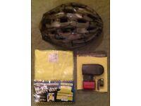 Trax 'Sirocco' Cycle Helmet, Hi-Viz Safety Vest & Cycle Light Set (unused)