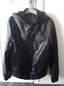 Men's black leather look jacket size XL