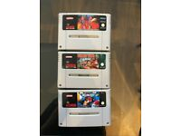Nintendo SNES Games - Worms, Micro Machines and Donkey Kong + controllers (USA style colours)