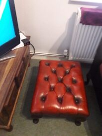 Stunning oxblood leather Chesterfield footstool