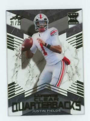 2021 Leaf Ultimate Clear Quarterbacks Gold Justin Fields 21/25 RC Rookie