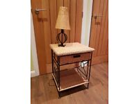 Shabby Chic Side Table & Lamp. Great Condition, Sturdy. Height 22'' /18 wide'' / 17''deep.