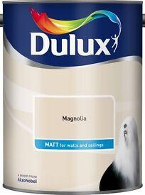 Lot of 2 unopened tins of Dulux Magnolia - Matt Emulsion Paint 5L.