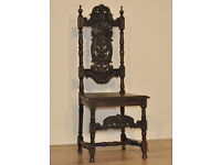 Attractive Antique Victorian Carved Oak Gothic Green Man Side Hall Chair