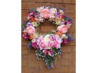 BESPOKE PINK & LILAC FLORAL DOOR/WALL WREATH DECORATION...