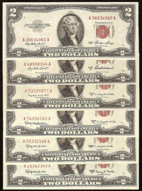 FULL SET 1953 to 1963A $2 TWO DOLLAR UNITED STATES LEGAL TENDER RED SEAL NOTE S