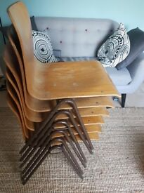 Vintage wooden school chairs x6
