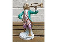 BUGLE PLAYER- C19th MEISSEN MONKEY BAND/ORCHESTRA STYLE CROSS SWORDS FIGURE MODEL