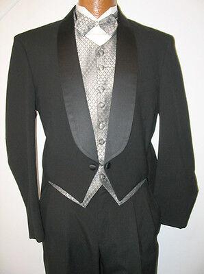 Black Wool Shawl Lapel Tuxedo Tailcoat Penguin Tails Jacket Formal Winter -