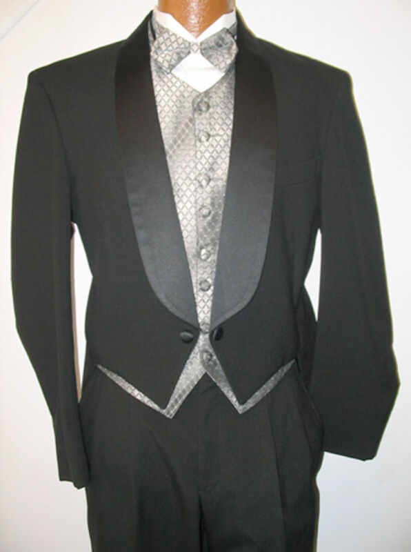 Black Wool Shawl Lapel Tuxedo Tailcoat Penguin Tails Jacket Halloween Dracula