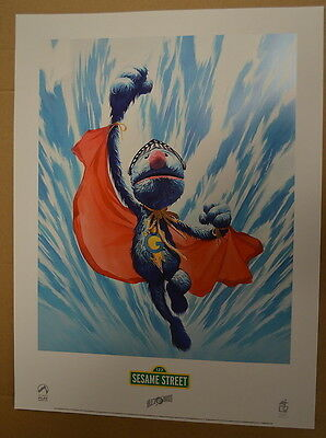 Sesame Street Super Grover Lithograph By Alex Ross Palisades Super Rare