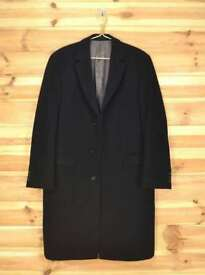Genuine Hugo Boss Light Striped Black Wool & Cashmere Over Coat size 40 L