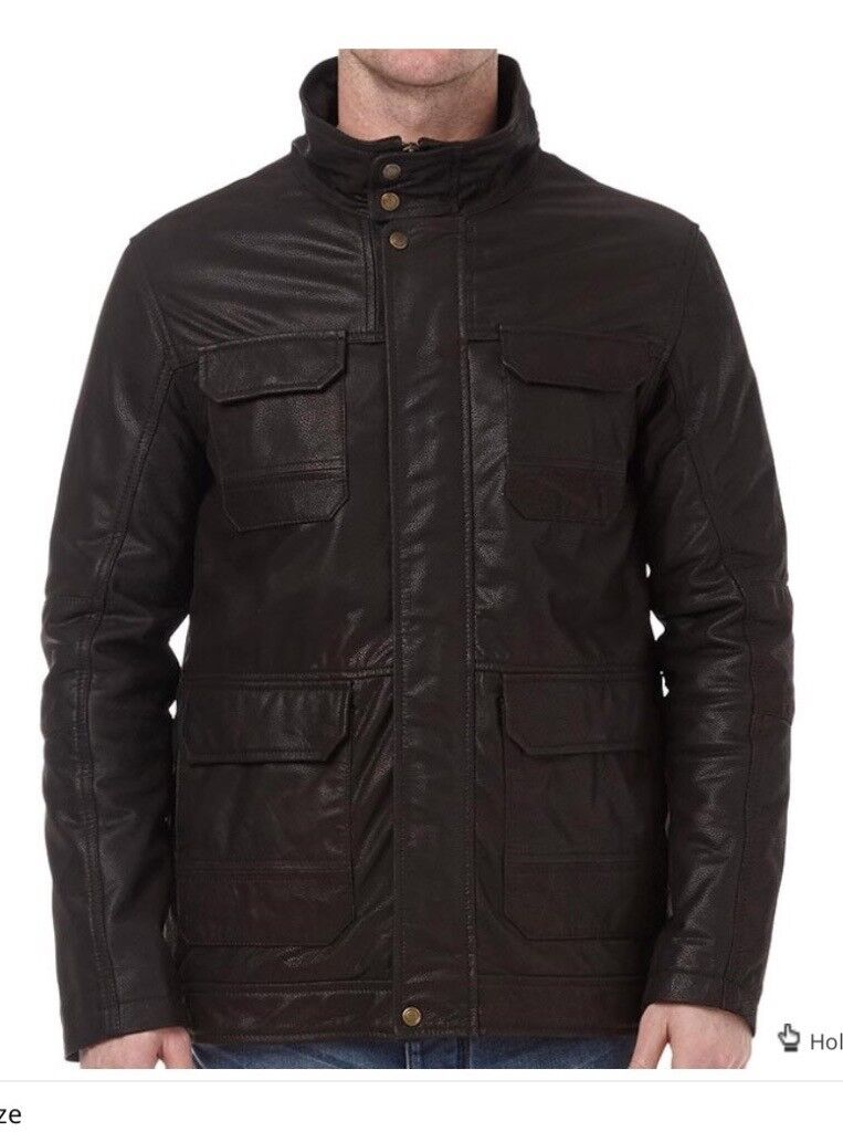 Onfire fully lined soft leather zip through longline jacket with stand-up collar. Brand New with tag
