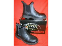 *As-New* Black Rock LEATHER Dealer Boots 8 -Cushion Sole/Steel Toe Dr Martin-like