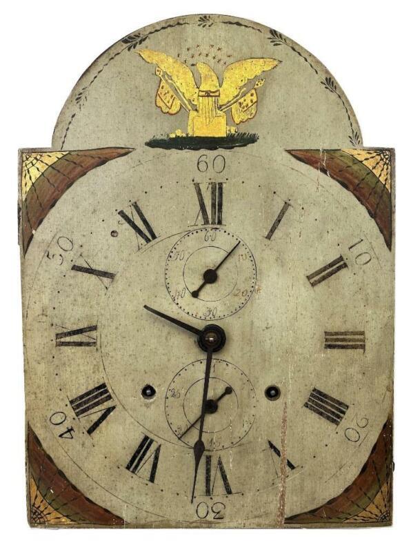 Antique 18thC American Federal Colonial Folk Eagle Tall Case Clock Movement+Dial