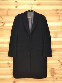 Genuine Hugo Boss Light Striped Black Wool & Cashmere Over Coat size 40 L, priced to sell