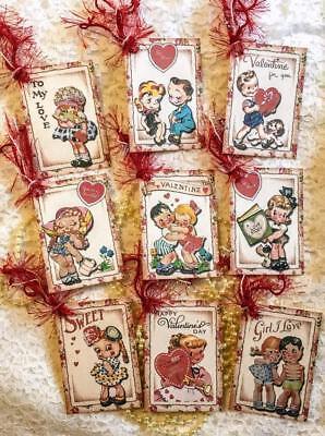 Set of 9 Hang Tags~Valentine Kids~Scrapbook~Card~Embellishments~Gift Tag~#193](Valentine Kids)