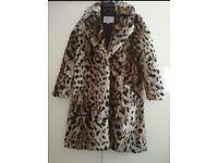 Size 6 faux fur leopard coat