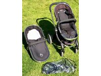 iCandy Peach 2 - Pushchair Frame, Adjustable Seat And Carrycot in Black/Chrome (PICKUP ONLY)