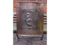 ANTIQUE COPPER CURVED FIRE SCREEN SHIP GALLEON ARTS AND CRAFTS? FIREPLACE