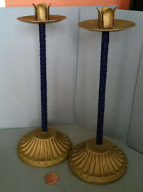 vintage brass and glass bead candlesticks