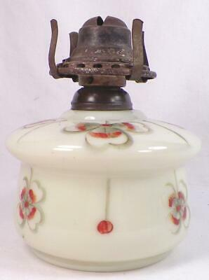 Antique Kerosene Oil Lamp Opaline Glass 4 Leaf Clovers Hand Paint Finger Scarce