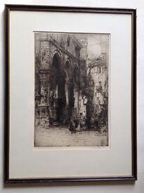 Original Framed Etching. HEDLEY FITTON 1859 -1929.