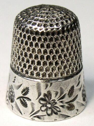 "Antique Stern Bros Sterling Silver Thimble  ""Folk Art Butterflies""  C1890s"