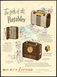 1948 original full-page, color print ad for RCA Portable Radios