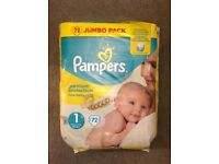 Pampers Nappies Size 1 x72