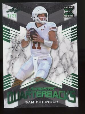 2021 Leaf Ultimate Quarterbacks XRC Green #7 Sam Ehlinger 2/25 RC Rookie
