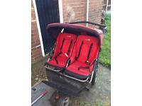 Double pushchair in red