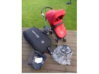 Bugaboo Cameleon –Red fabric and grey base together & wheeled transport bag & wheeled standing board