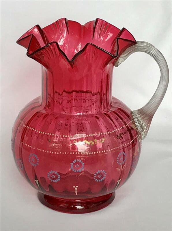 "Antique Victorian Blown Cranberry Glass 9"" Pitcher Ribbed Applied Handle Painted"