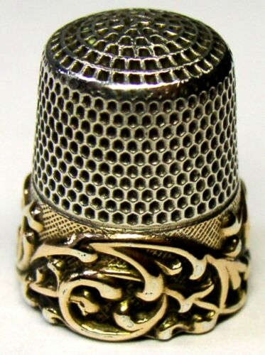 "Antique Ketcham & McDougall Gold Band Sterling Silver Thimble ""Embossed Scroll"""