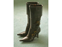 BARGAIN - Ladies Dark Brown Knee Length Leather Boots from River Island - Size 5 (38)