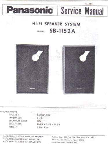 PANASONIC SERVICE MANUAL FOR SB SERIES SPEAKERS SYSTEMS