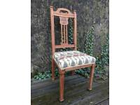 Arts and crafts style solid oak chair - newly reupholstered