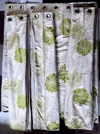 Four Heavyweight Lined Curtains 8ft 8inches wide 5ft 2inches deep in beautiful condition